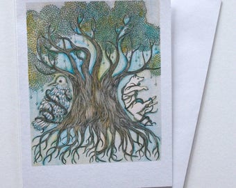 Handmade tree, bird, wolf greeting card. Blank card. Hand drawn card