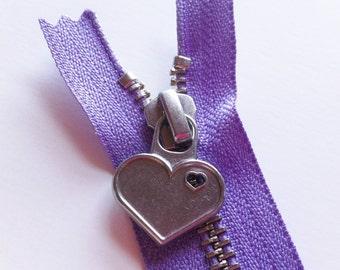 Metal Teeth 7 Inch Zipper with Special Heart Pull - YKK- 1 Piece- Soft Amethyst 862