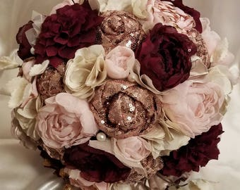 Rose Gold sequin, Blush, and Burgundy Fabric Bouquet.