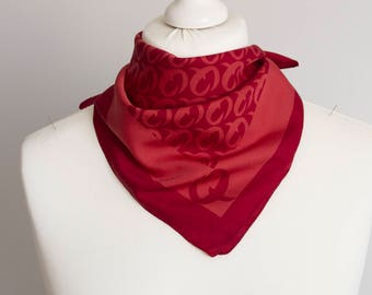 "vintage Square scarf, polyester scarf, fabric women scarf shawl 50cm / 20"" geometric scarf red"