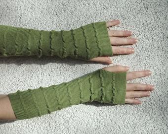 Green Arm Warmers Fingerless Gloves Mittens Wrist Warmers Grass Green Soft