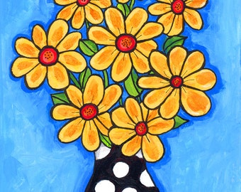 Yellow polkadot Flower Bouquet, Shelagh Duffett