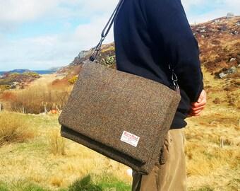 Large Brown Herringbone 'Harris Tweed' Messenger Bag/Laptop Bag