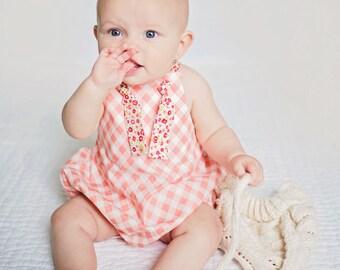 Pink Gingham Romper , Pink Romper , Checkered Romper , Summer Romper , Pink Baby Romper , Pink Baby Sunsuit , Pink Sunsuit , Toddler Romper