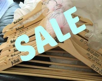 SALE Bridal Party Hangers, Bride Hangers, Bridal Party Gifts, Hangers, Wedding Hangers, Wood Hangers, Personalized Hangers