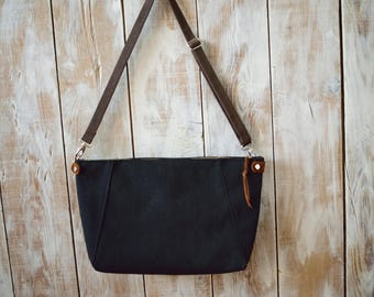 Canvas Crossbody Bag,Black Canvas Crossbody bag,Zippered Canvas Bag,Suede Bag,Canvas Messenger Bag,Canvas Shoulder Bag,Brown Crossbody Bag