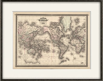 World map Vintage Map print Antique map old prints map wall art old maps large map, poster maps home decor wall map decor wall maps old map
