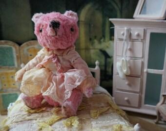 "OOAK Artist Bear -  POPPY - 5"" Tall Pink Lemonade German Viscose Collectible Teddy Bear"