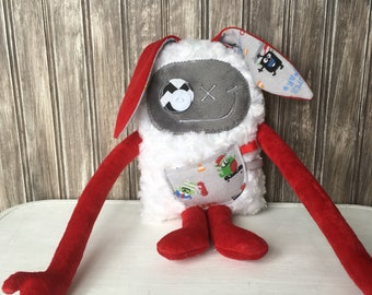 Hug Monster plush with Rabbit ears, boy plush, baby shower, christmas,  easter or birthday gift, easter bunny, soft toy, monster doll, skate