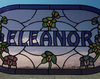 Stained Glass Window Panel, Custom Name in Glass, Personalized Surname Heirloom Art, Artist for Hire