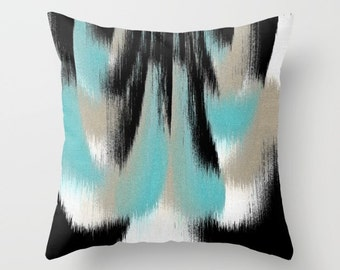 Throw Pillow Cover, Aqua Black White Taupe, Abstract Art, Decorative Cushion Cover, Home Decor
