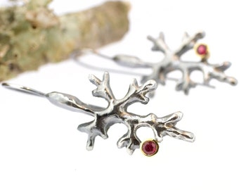 Fractal Lichen Earrings Sterling Silver 18k Gold Nature Jewelry