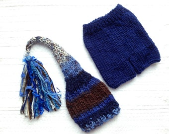 Newborn - 3 month Baby Boy Knit Outfit BaBY PHoTo PRoP Tassel SToCKiNG CaP PaNT SET Royal Blue Brown Grey Stripe Beanie CoMiNG HoME Gift