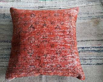 "Kilim Pillow, Orange Carpet Pillow, Pouf, 2'9""2'9"" Feet 88×88cm Oversize Pillow, Ottoman Pillow, Cushion Cover, Decorative Pillow, İnterior"