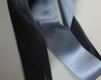 Vintage ribbon 1920s silk velvet  1 5/8 in Indigo blue