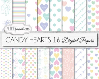 CANDY HEARTS 16, digital papers, candy hearts, Valentine's Day candy, cherubs, pastel hearts, love hearts, LOVE, invitations & scrapbooking