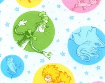 Per Yard, Dr Seuss Circles LAMINATED Cotton Fabric From Robert Kaufman