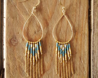 LOOPS PALOMA Blue Denim gold plated and glass Miyuki beads weaving