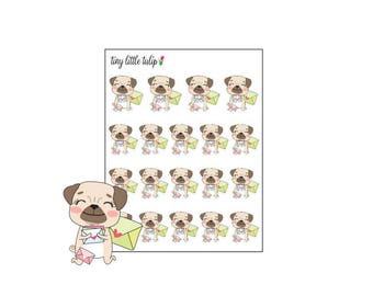 Planner Stickers Pug Happy Mail