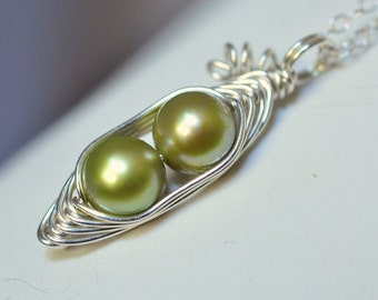 Two peas in a pod necklace - mothers necklace - peapod necklace - pea pod jewelry - green freshwater pearl - a  Mu-Yin Jewelry original
