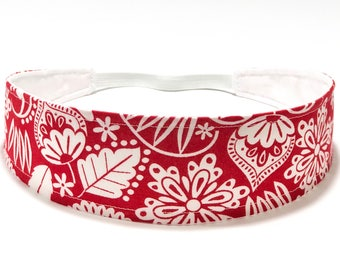 Ready to Ship - Women's headband - Reversible Fabric Headband - Red & White Floral Headband - WHIMSICAL RED FLORAL