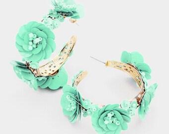 Flowers Hoop Earrings Gold/Mint