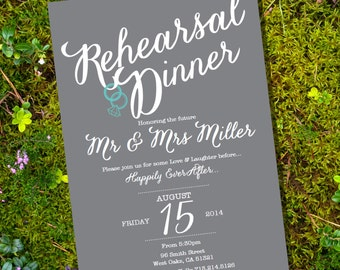 Rehearsal Dinner Invitation - Instant Download and Edit with Adobe Reader - Print at Home!