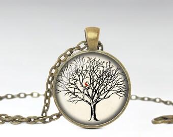 Cardinal Jewelry Cardinal Necklace Cardinal in Tree Jewelry Cardinal Gift A HHJ Orignal Neckace