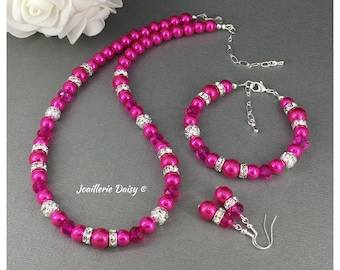 Hot Pink Necklace Pearl Jewelry Set Bridesmaid Jewelry Pearl Necklace Bridesmaid Gift Maid of Honor Birthday Gift Bridal Party Wedding