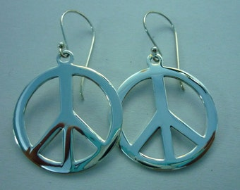 Peace Sign Earrings - Peace Earrings - 925 Sterling Silver Peace Sign Symbol Charm Earrings large 28 mm