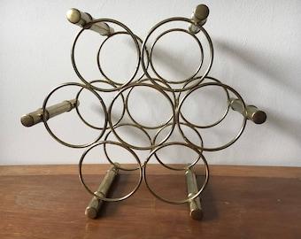 Midcentury Hollywood Regency Brass Bamboo Style Wine Rack