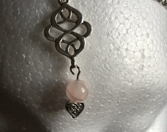 Rose Quartz Circlet with Celtic Knots