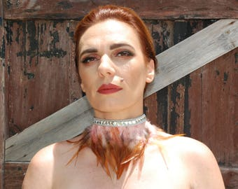 Tickle me Pink feather and diamond dog Choker.