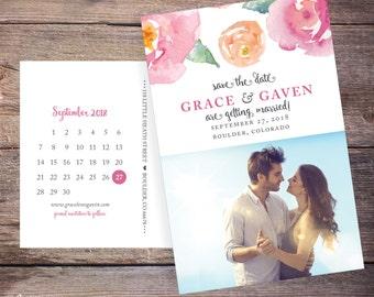 Floral Save the Date Postcard, Save-the-Date Card Photo, Spring Summer Flowers, Calendar Destination Wedding, Printable File - Grace