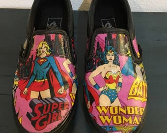 Wonder Woman, Super Girl & Batgirl Vans Womens Shoes, size 6.5 only, handmade, decoupage, one of a kind