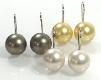 Pink Pearl Dangle & Drop Earrings , 14mm Shell Pearl Earrings , Sterling Silver 925 Earrings , Pink - Golden - Grey Pearl with silver hook
