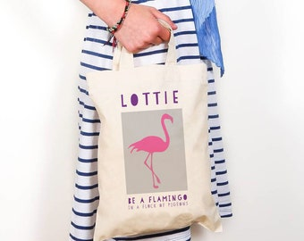 Flamingo personalised bag (s), flamingo gifts, birthday gift, niece gift, sister gift, daughter gift, tropical party, personalised party bag