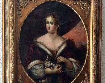 Sale Antique 18th C. Old Master English Oil Painting Portrait of Young Woman & Her Dog O/C European Art Framed