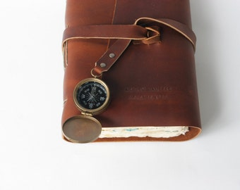 Leather Journal Leather Travel Journal with Vintage Maps and Working Compass - Customized