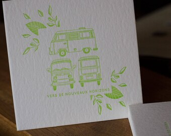 Card letterpress to new horizons