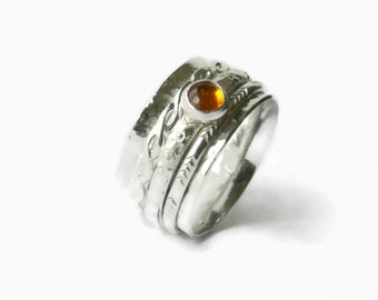 Silver amber ring anxiety ring fidget ring Sterling silver spinner ring worry ring sterling silver ring statement ring chunky rolling