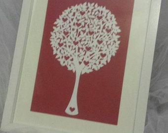 loveheart tree paper cut
