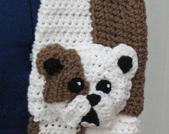 Crochet Pattern - Bulldog Scarf Pattern -  English Bulldog - Scarf Pattern - Men's Scarf - Women's Scarves - Animal Pattern - Dog Lover Gift
