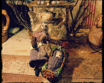 Fae baby and rocking cradle, natural materials, custom order, fairy doll, fairy house, waldorf, woodland