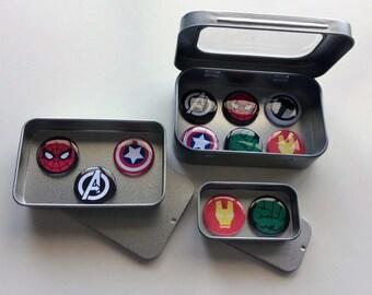 Infinity War Marvel Comic Hereos Fridge Magnets in Gift Tin, 25mm Magnets, 2, 3 & 6 Magnet Sets, Gift for Him, Man Cave, Stocking Filler