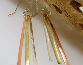 Tri Metal (Brass, Copper, & Sterling Silver) Strand Textured Earrings (Customizable)