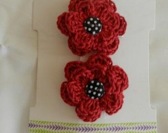 Crocheted Flower Hair Clips / Crocheted Red Flower Hair Clips