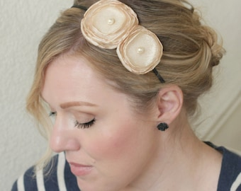 Champagne Headband, Flower Headband for Adults, Wedding Headband, Bridesmaid Headband, Fancy Headband