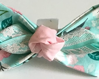 Aqua and Pink Floral Bow for Girl Dog or Cat Collar