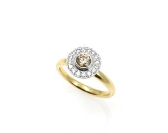 Gabriel, halo ring champagne Diamond ring, champagne diamond ring, 18 ct ring, gold ring, yellow gold ring, engagement ring